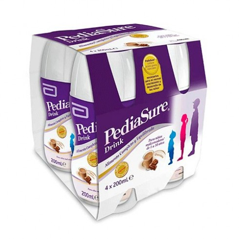 PEDIASURE DRINK 4 BOTELLAS 200 ml SABOR CHOCOLATE